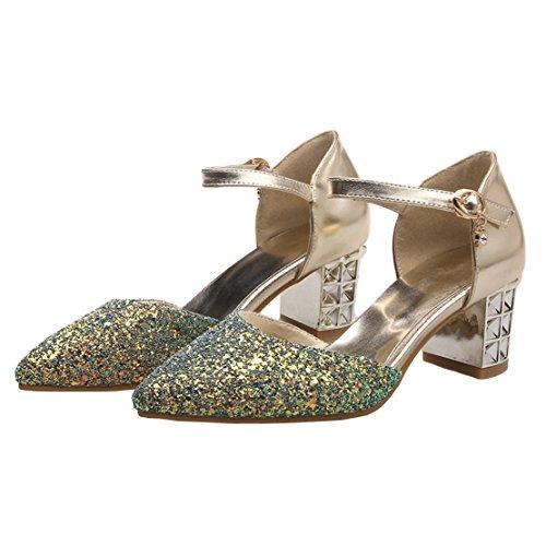 AIYOUMEI Damen Spitz Glitzer Blockabsatz knöchelriemchen Pumps mit 6cm Absatz Modern Schuhe Gold