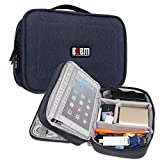 BUBM Multi-function Case Waterproof Handbag Travel Gear Organizer / Electronics Accessories Bag / Phone Charger Cable Sleeve Pouch (M,Blue,7.9'')