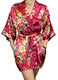 Women's Satin Floral Kimono Short Bridesmaid Robe W/Pockets - Wine Red M/L