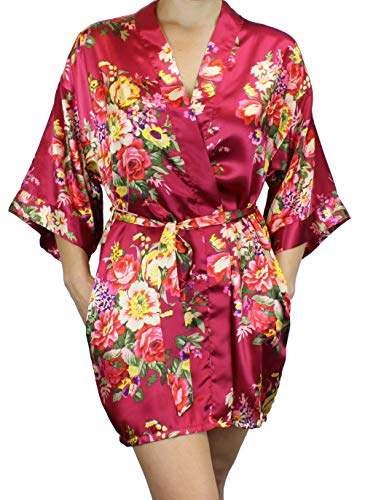 Women's Satin Floral Kimono Short Bridesmaid Robe W/Pockets - Wine Red XL]()