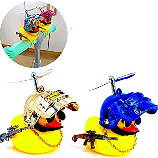 Genrics Bicycle Accessories Car Trim Suit Cool Glasses Duck with Propeller Helmet (2 Pack) Cool car Decoration Man Woman Children's Rubber Duck Fun Toy (Shiny Blue+Shiny Gold)