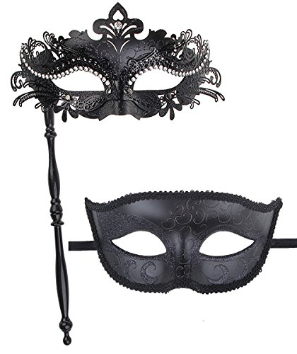 IETANG On Stick Couple's Gorgeous Venetian Masquerade Masks Party Costumes Accessory (on Stick-Black) -