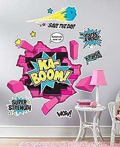BirthdayExpress Superhero Girl Room Decor - Giant Wall Decals