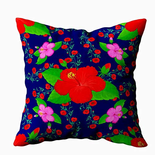 20x20 Pillow Case,Father Gift,Cushion Soft Home Sofa Decorative Throw Pillow Cases Douecilsh Design Invitation Wedding Greeting Cards Hibiscus Pattern Colorful Floral Flowers Double Printed