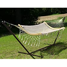 Sunnydaze Thick Cord Woven Single Person Mayan Hammock with Curved Spreader Bars and 15-Foot Stand, Natural, 350 Pound Capacity