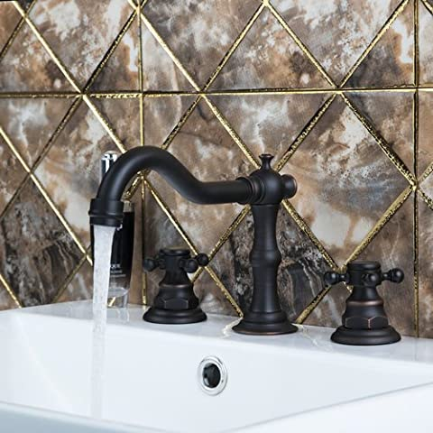 Ohcde Dheark Double Handles Oil Rubbed Black Bronze 3 Pieces Bathroom Wash Basin Sink Brass Vessel Bathtub Tap Mixer - Three Hole Wall Mount Washbasin