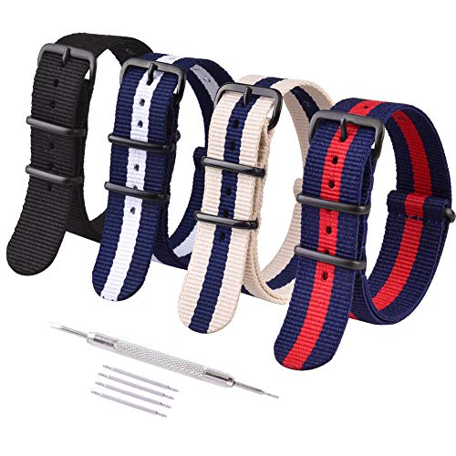 Ritche 22mm NATO Straps Nylon Watch Bands Compatible with Seiko Watch for Men Women ()