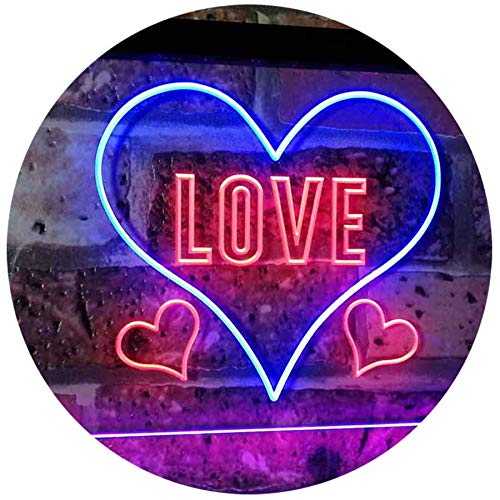 AdvpPro 2C Love Night Light for Bedroom Wall Décor Dual Color LED Neon Sign Blue & Red 12'' x 8.5'' st6s32-i3073-br by AdvpPro 2C
