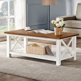 Farm Table Coffee Table FurniChoi Farmhouse Coffee Table, Wood Rustic Vintage Cocktail Table for Living Room with Shelf, 47 White and Brown