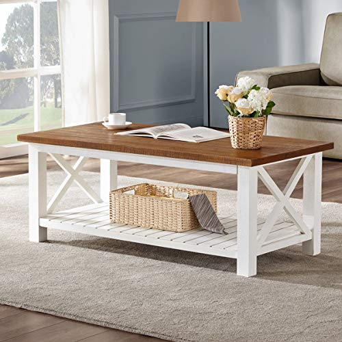- FurniChoi Farmhouse Coffee Table, Wood Rustic Vintage Cocktail Table for Living Room with Shelf, 47 White and Brown