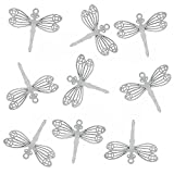 Rockin Beads Brand, 20 Thin Stainless Steel Dragonfly Charm Pendant 24x29mm 0.3mm Thick