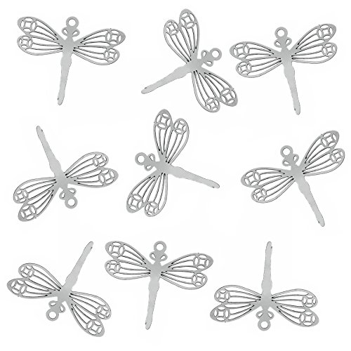Rockin Beads Brand, 20 Thin Stainless Steel Dragonfly Charm Pendant 24x29mm 0.3mm Thick (Dragonfly Charm)