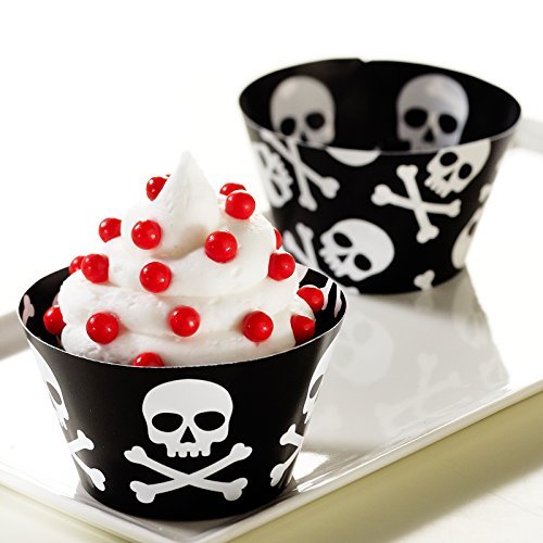 BirthdayExpress Skull and Crossbones Reversible Cupcake Wrappers (Jake And The Neverland Pirates Cupcake Wrappers)