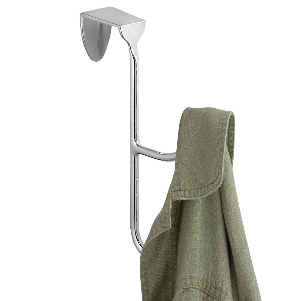 compacto perchero de puerta de metal para prendas o accesorios colgador de ropa para ba/ño o dormitorio iDesign Gancho doble para colgar de las puertas plateado