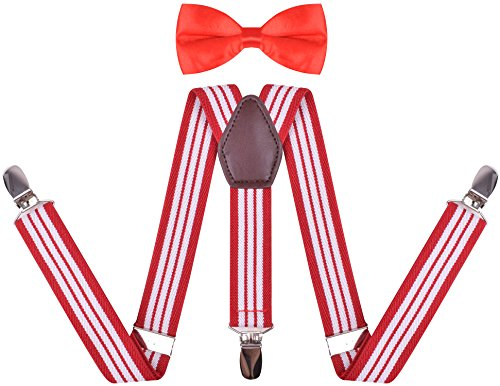 Red Stripe Bow - WDSKY Toddler Boys' Bow Tie and Suspenders Set Y Back Adjustable Red White Stripe 30 Inches