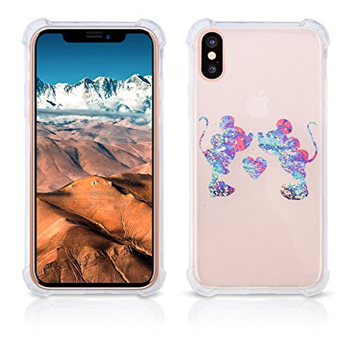 Clear iPhone X clear case Protective Scratchproof Cover Antislip, Slim, Soft And Durable Plastic TPU Shell-Transparent Bumper Shock Case Mickey Mouse Colorful Paint Splatter (minnie and - To Glass Hide Scratches In How