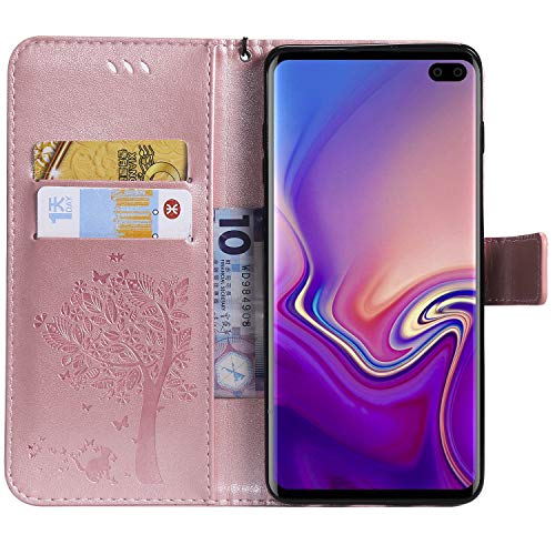 NOMO Galaxy S10 Case,Samsung S10 Wallet Case,Galaxy S10 Flip Case PU Leather Emboss Tree Cat Flowers Folio Magnetic Kickstand Cover with Card Slots for Samsung Galaxy S10 Rose Gold by NOMO (Image #3)