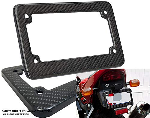 (ICBEAMER Racing JDM Style Universal Fit Any Kind of Motorcycle Real Carbon Fiber License Plate Frame [Pack of 1 pc])