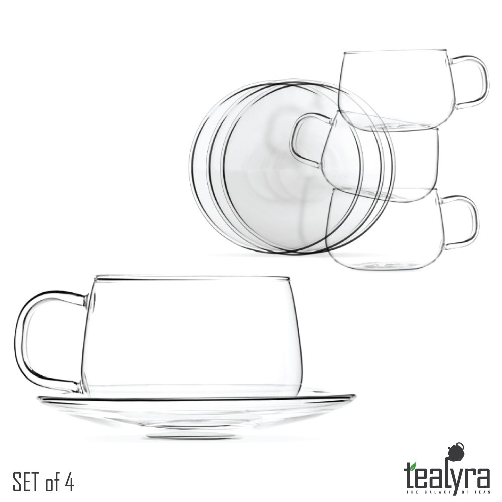 Tealyra - La Lune - Glasses - 10.1-ounce - Set of 4 - Clear and Lightweight Glass Tea and Coffee Cup with Saucer - 300ml