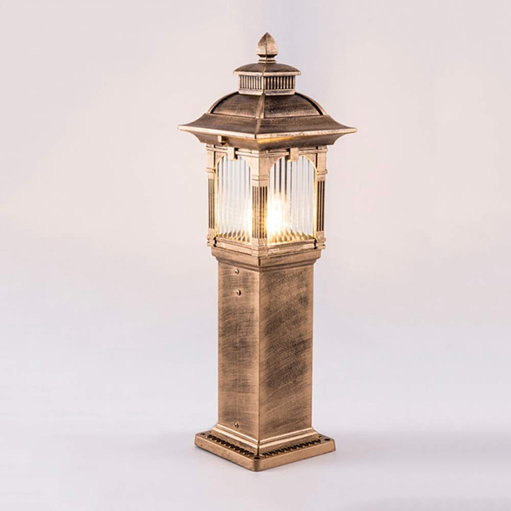 Hines ヨーロッパの屋外ピラー芝生ライトガーデンランプヴィクトリアランタンアルミガラスのコラムライト防水テーブルランプE27装飾ピラー街のポスト照明器具 (サイズ : L) B07G964TBL Large  Large