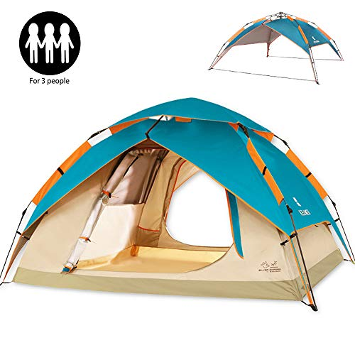 ZOMAKE Dome Tent for Camping 3 4 Person – Waterproof Instant Backpacking Tent, Automatic Hydraulic Pop Up Tent with Easy Setup, Carry Bag Included