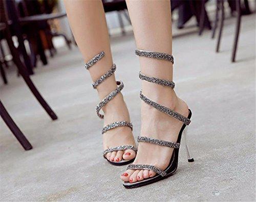 QIYUN.Z Nuevas Mujeres Bling Del Paillette De Punk Gladiador Mas El Tamano De Los Estiletes Sandalias Zapatos Romanos Gris
