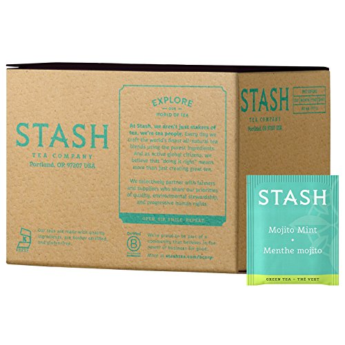 Stash Tea Mojito Mint Green Tea & Matcha Blend 100 Count Tea Bags in Foil (Packaging May Vary) Individual Green Tea Bags for Use in Teapots Mugs or Cups, Brew - Green Blend Tea