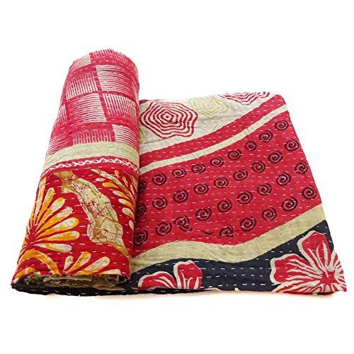 Vintage Kantha Quilt Indian Handmade Cotton Bedspread Designer Bedding Blanket
