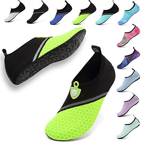 welltree Water Shoes Women Men Quick Drying Barefoot Aqua Socks Slip-on Yoga Shoes for Beach Swimming Pool Surf Diving Sailing Splice Black Green EU38/39