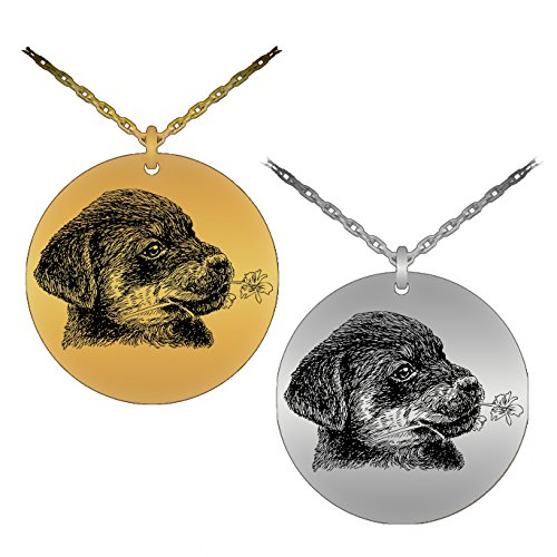 Rottweiler Pendant (Cute & Detailed Puppy Rottweiler With Flower In Mouth Laser-Engraved Pendant Necklace (Stainless Steel Version))
