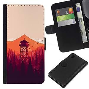 YiPhone /// Tirón de la caja Cartera de cuero con ranuras para tarjetas - MINIMALISTA NARANJA FORREST - Sony Xperia Z1 L39