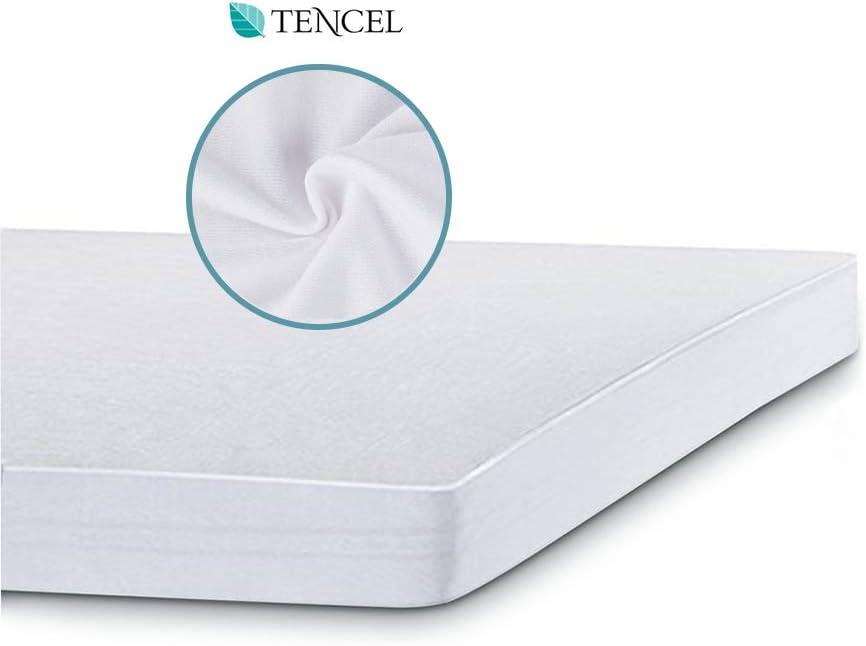 Bedecor Tencel Protector de Colchón Impermeable para Cuna -Transpirable, Hipoalergénico, Anti-bacteriano (70 x 140 cm)