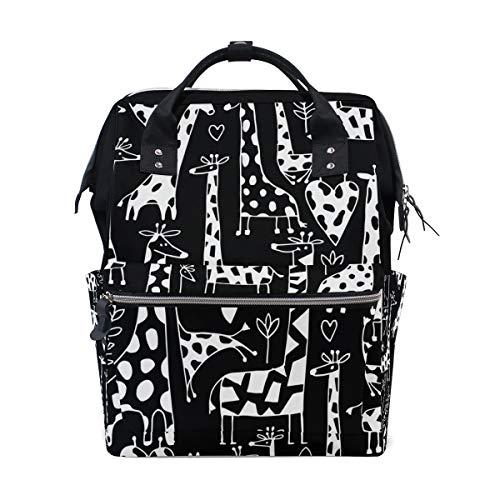 - My Little Nest Large Capacity Baby Diaper Bag Funny Giraffes Durable Multi Function Travel Backpack for Mom Girls