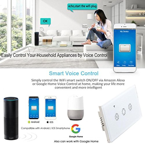 Switch Capacitive Hand Switch Wireless Remote Control Glass 3-gang Smart Home AU/US Crystal Waterproof Glass Touch Screen Light Switch&Mini Remote (White) by Liu Nian (Image #8)