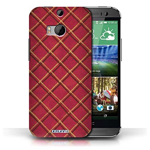 Etui / Coque pour HTC One/1 M8 / Rouge conception / Collection de Motif Entrecroisé