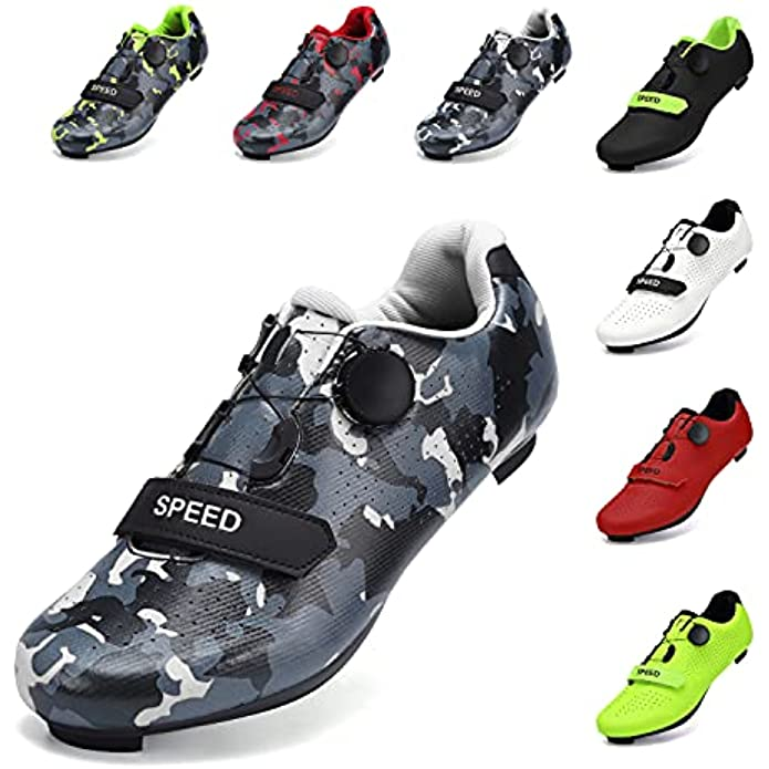 SWISSWELL Mens Womens Road Bike Cycling Shoes Peloton Bike Shoes Compatible SPD Riding Shoes Lock Pedal Bike Shoes Indoor Outdoor