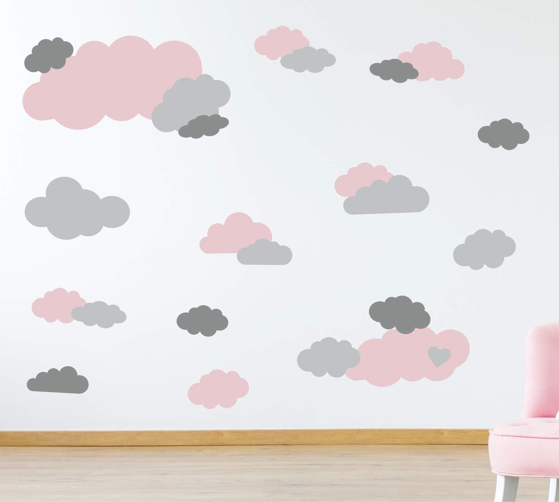 73091-SET011-35 Aufkleber Wolkenset timalo/® 35 St/ück Wandtattoo Kinderzimmer XL Gro/ße Wolken Himmel Pastell Wandsticker hellblau puderblau hellgrau