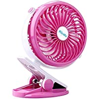 Clip on Fan - Rechargeable Battery Operated Fan with 2600 Mah Usb Desk Fan for Baby Stroller,Kicsto Mini Personal Portable Fan,Usb Clip Fan with Adjustable Speed (Pink)