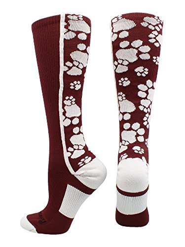 MadSportsStuff Crazy Socks Paws Over the Calf (Maroon/White, (Maroon Softball Shoes)