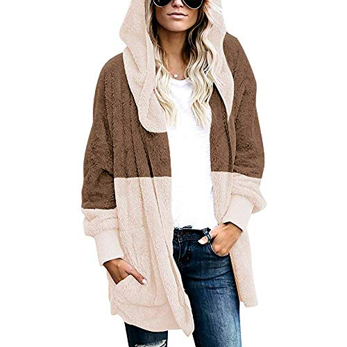 Women's Plush Jacket Open Front Hooded Draped Pockets Cardigan Splicing Oversized Coat