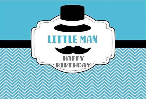 AOFOTO 7x5ft Little Man Happy Birthday Background Boy Party Decor Photography Backdrop Abstract Beard Moustache Whisker Baby Gentleman Hat Child Kid Bday Banner Photo Studio Props Vinyl Wallpaper