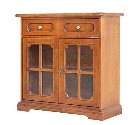 Credenza classica in legno 2 ante in vetro, Mobile midi per cucina ...