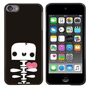 EJOOY---Cubierta de la caja de protección para la piel dura ** Apple iPod Touch 6 6th Touch6 ** --Esqueleto del cráneo de San Valentín linda del dibujo
