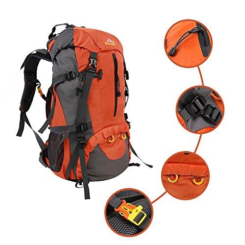 Grefine 50L Impermeabile All'aperto Sport Escursionismo Zaino, Campeggio Trekking Zaini Viaggio Esplorando Pacchetto Alpinismo Arrampicata Zaino Borsa con Rain Cover in 3 Colori (Arancia, 50L)