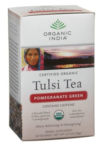 Organic India Tulsi Pomegranate Green, 18-count teabags (Pack of 6)