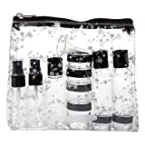 Miamica TSA Compliant Travel Bottles and Toiletry Bag Kit, 15 piece, Black Star