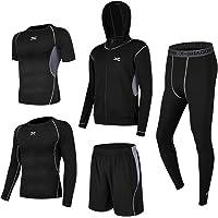 Superora 5 Piezas Conjunto de Ropa Deportiva Hombre Camisetas Pantalon Corto Deporte Ropa Secado Rápido Traje Deportivo…