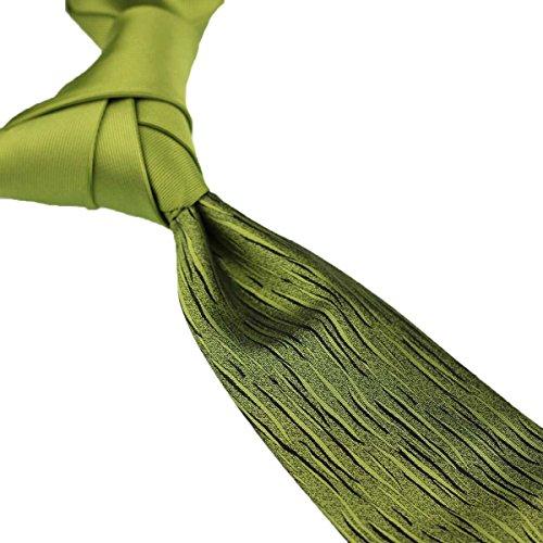 Apple Tie (Coachella Ties Solid Color Knot Contrast Stripes Tie Patchwork Necktie 8.5cm (Apple Green))