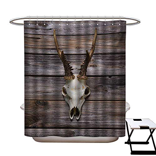Antlers Shower Curtains Digital Printing Rustic Antler on Wooden Wall Wintertime Mountain Hut Country Style Rustic Design Satin Fabric Bathroom Washable W72 x L72 Brown Beige from BlountDecor