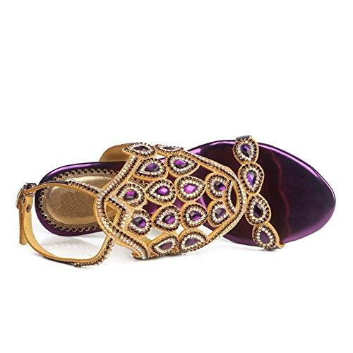 Prom Señoras Mid Party Purple Diamante Sandalias Heel Low Mujeres Tamaño Zapatos Nvxie Strappy High pw4zgz5x